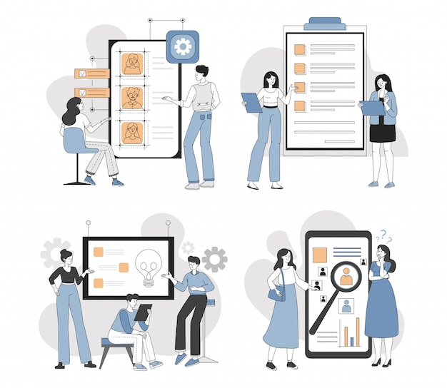 Ludzie w przypadkowych ubraniach rozwija strony internetowe lub mobilna zastosowania kreskówki konturu ilustrację.