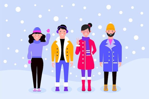 Ludzie w przytulnych ubraniach w zestawie zimowym