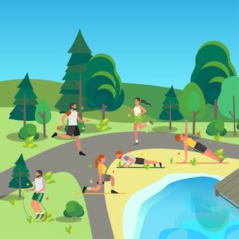 Ludzie w publicznym parku. jogging i ćwiczenia sportowe w parku miejskim. letnia aktywność.