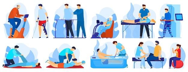 Ludzie w rehabilitacji ortopedycznej terapii wektorowej zestaw ilustracji. terapeuta płaski postać z kreskówki pracujący z niepełnosprawnym pacjentem