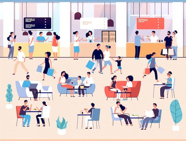Ludzie w restauracji. mężczyźni i kobiety jedzą posiłek w kawiarni w formie bufetu.