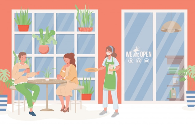 Ludzie w restauracji płaskiej ilustracji. kelner w masce i rękawiczkach, trzymając talerz i menu, mężczyzna i kobieta rozmawiają ze sobą. dystans społeczny i nowa normalność po wybuchu koronawirusa.