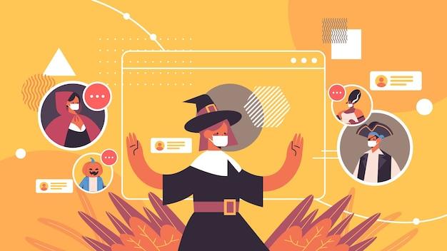Ludzie w różnych kostiumach omawiający podczas rozmowy wideo wesołego halloween uroczystości koronawirusa samoizolacja koncepcja komunikacji online pozioma ilustracja wektorowa