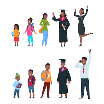 Ludzie w różnym wieku. uczniowie, dziewczyny, afroamerykańskie postacie od małego dziecka po młodego profesjonalistę. pokolenia jednej osoby, ilustracja wektorowa kreskówka na białym tle dzieci w wieku przedszkolnym