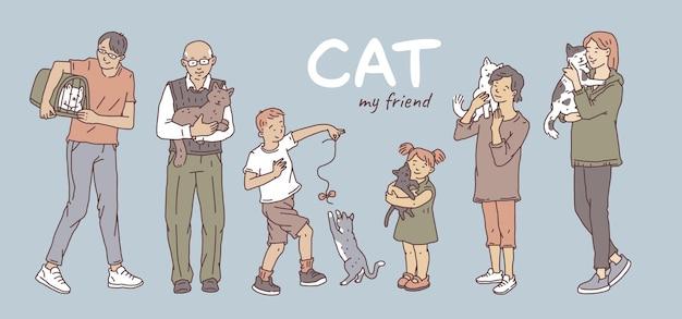 Ludzie w różnym wieku z kotami domowymi. plakat z nie rasowymi zwierzętami wektor zarys doodle.