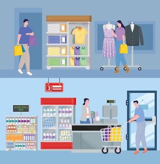 Ludzie w sklepach