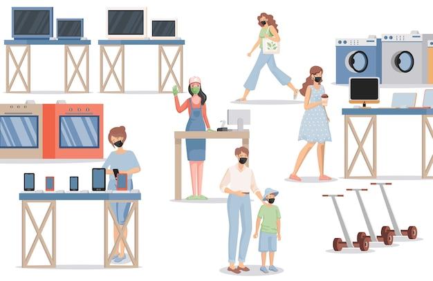 Ludzie w sklepie elektronicznym