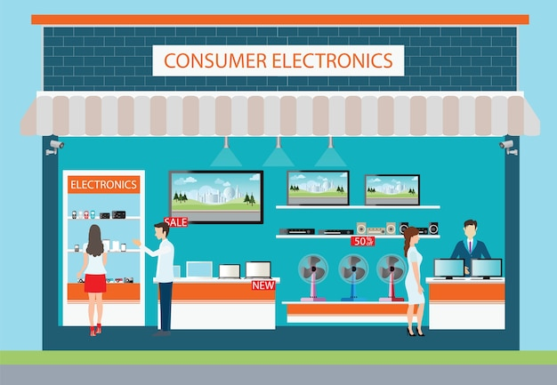 Ludzie w sklepie elektroniki konsumenckiej.
