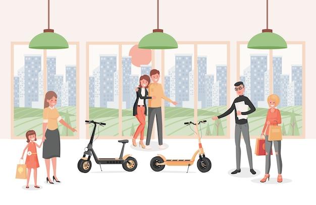 Ludzie w skuterach elektrycznych kupują płaską ilustrację. osoby wybierające nowoczesny ekologiczny transport osobisty.