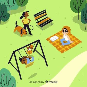 Ludzie w słoneczny dzień w parku