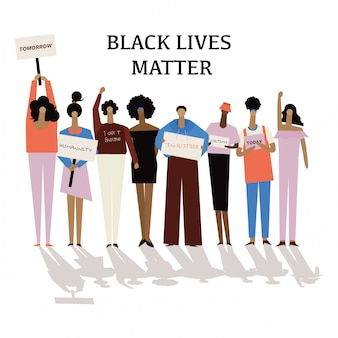 Ludzie w sprawie black lives matter protestujący walczą o prawa człowieka przeciwko rasizmowi, powstrzymują przemoc wobec czarnych.