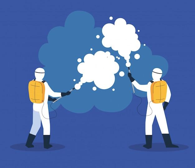 Ludzie w strojach ochronnych lub ubraniach, spryskaj do czyszczenia i dezynfekcji wirusa, choroba 19