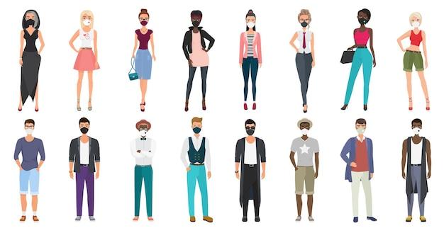 Ludzie w stylowych, codziennych ubraniach, noszący maski na twarz, aby zapobiec chorobom.