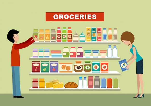 Ludzie w supermarkecie. artykuły spożywcze.
