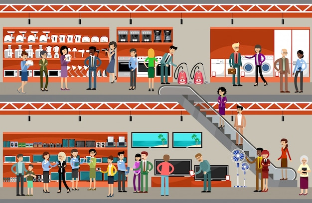 Ludzie w supermarkecie sprzętu i elektroniki