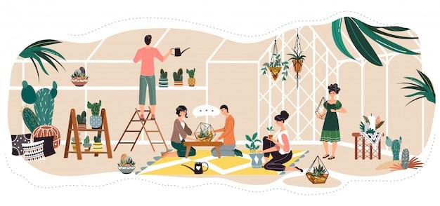 Ludzie w szklarni, sadzenie i podlewanie dekoracyjne rośliny doniczkowe, ilustracja