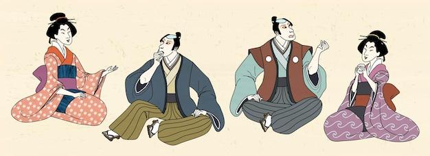 Ludzie w tradycyjnym japońskim zwyczaju w stylu ukiyo-e