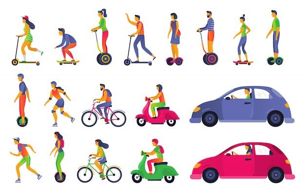 Ludzie w transporcie miejskim. hoverboard, hulajnoga elektryczna i rolki. grodzka pojazd i przewieziona samochodowa ilustracja