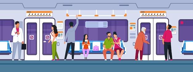 Ludzie w transporcie. postaci z kreskówek siedzących i stojących w pociągu miejskim. ilustracje wektorowe