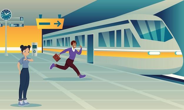 Ludzie w transporcie publicznym na stacji metra