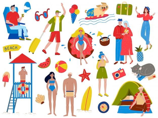 Ludzie w wakacje ilustracji zestaw, kreskówka aktywna kobieta mężczyzna urlopowiczów pływać, opalać się i relaksować na białym tle