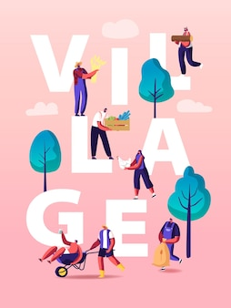 Ludzie w wiosce ilustracji