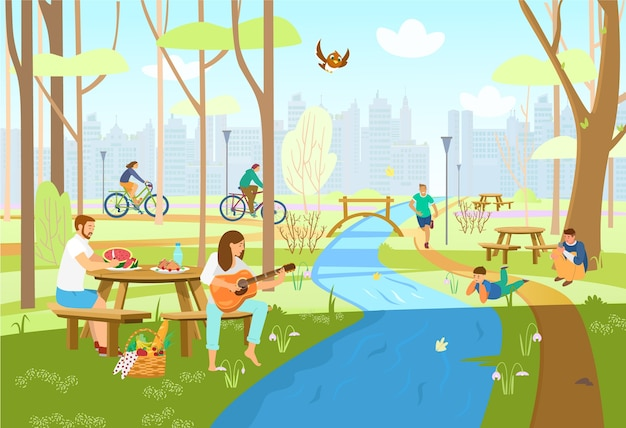 Ludzie w wiosennym parku miejskim mają piknik, jeżdżą na rowerach, biegają, grają na gitarze, robią zdjęcia, cieszą się przyrodą. scena parkowa ze stołami piknikowymi, rzeka z mostem, sylwetka miasta. kreskówka .