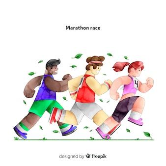 Ludzie w wyścigu maratońskim