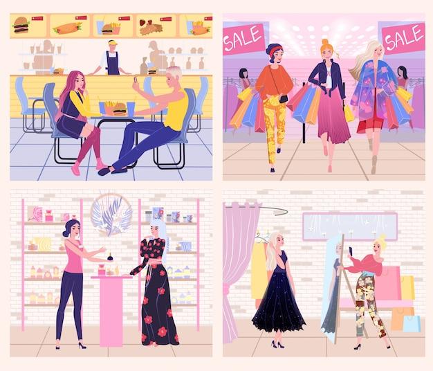 Ludzie w zakupy centrum handlowym, kobiety w mod ubrań sklepie, ilustracja