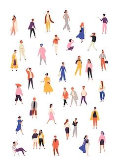 Ludzie w zestaw ilustracji płaskie modne ubrania. stylowe modele płci męskiej i żeńskiej na białym tle elementy projektu na białym tle