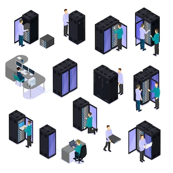 Ludzie w zestawie izometrycznym centrum danych