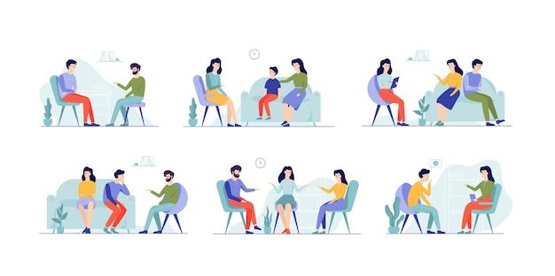 Ludzie w zestawie psychologa. rodzina na konsultacji