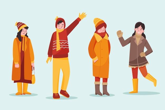 Ludzie w zimowej kolekcji przytulnych ubrań