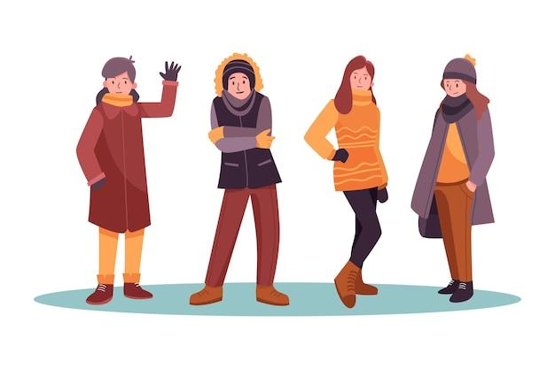 Ludzie w zimowym wygodnym pakiecie ubrań