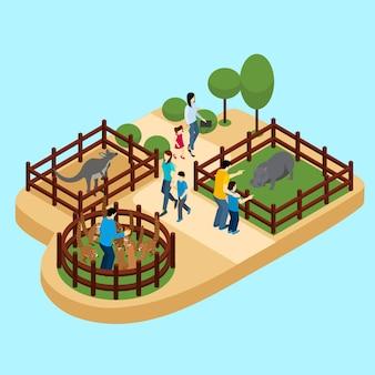 Ludzie w zoo ilustracji