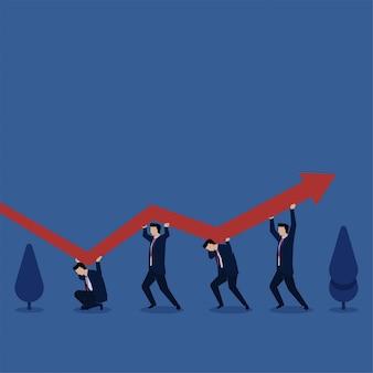 Ludzie walczą o utrzymanie wykresu w górę metafory przetrwania i straty. biznes ilustracja koncepcja płaski.