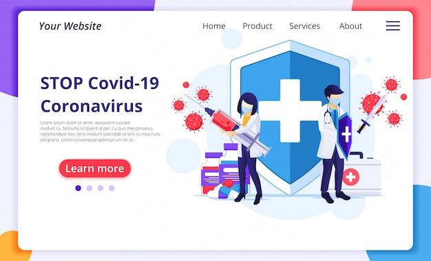 Ludzie walczą z wirusem, lekarz i pielęgniarka walczą z ilustracją wirusa covid-19 corona. szablon projektu strony docelowej witryny. szablon projektu strony docelowej witryny