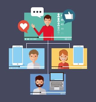 Ludzie wideo wirusowe treści urządzenia przenośnego komputera