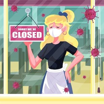 Ludzie wieszają zamknięty szyld z powodu koronawirusa