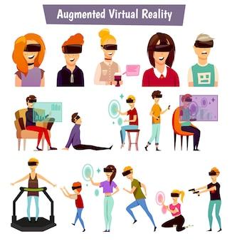 Ludzie wirtualnej rzeczywistości ikony ortogonalne