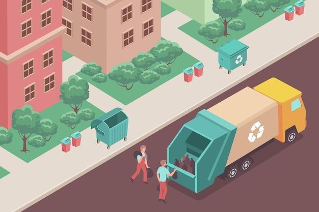 Ludzie wkładający torby ze śmieciami do śmieciarki izometrycznej 3d