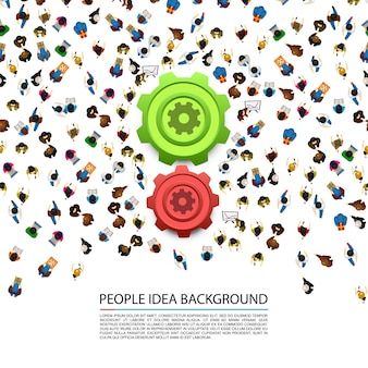 Ludzie wokół kół zębatych na białym tle. ilustracja wektorowa