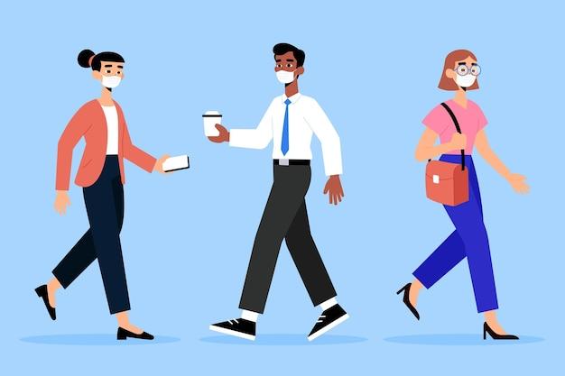 Ludzie wracają do pracy ilustracja