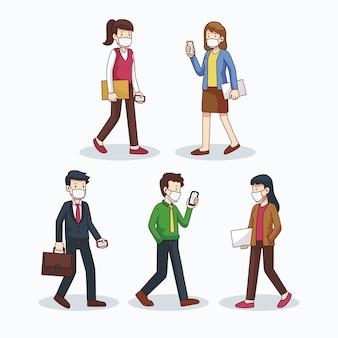 Ludzie wracają do zbioru ilustracji do pracy