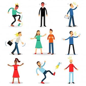 Ludzie wściekli, niezadowoleni, wściekli i zdenerwowani. postacie z ilustracjami negatywnych emocji