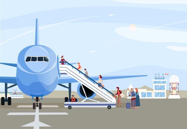 Ludzie wsiada samolot, pasażery chodzi w górę rampy, samolot na lotniskowym pasie startowym, ilustracja