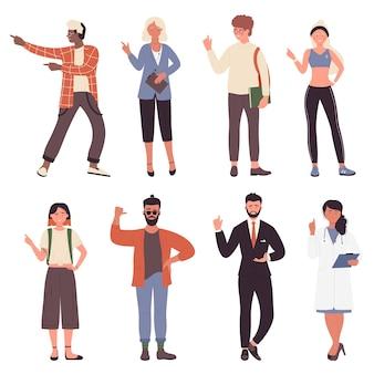 Ludzie wskazują palcami, gestami i pozami zestaw ilustracji