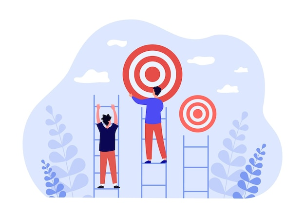 Ludzie wspinający się po drabinie sukcesu do celu. lider człowiek osiągając cel płaski wektor ilustracja. udana kariera, przywództwo, koncepcja osiągnięć dla banera, projektu strony internetowej lub strony docelowej