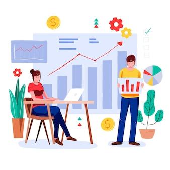 Ludzie wspólnie analizują wykresy wzrostu