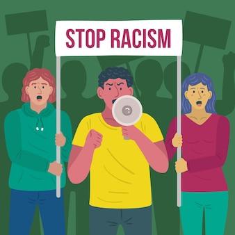 Ludzie wspólnie protestują przeciwko rasizmowi